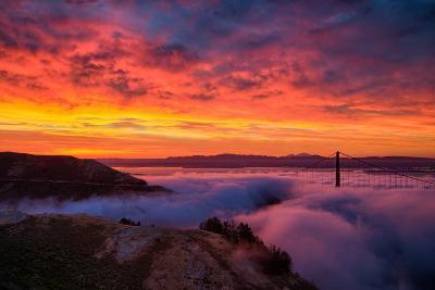 Epic Sunrise and Low Fog at Golden Bridge, San Francisco-Vincent James-Photographic Print