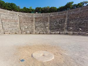Epidaurus, Argolis, Peloponnese, Greece. The 14th century BC, 4,000 seat theatre, designed by Po...