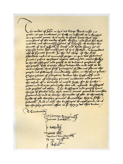 Episcopal Declaration of Archbishop Crammer and Seven Other English Bishops, C1537-Thomas Cranmer-Giclee Print
