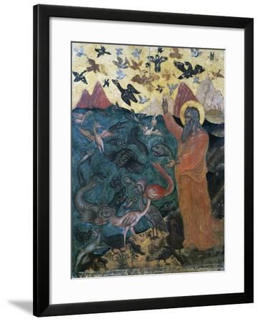 Episode of Genesis, God Creates Birds and Fish, Painting of Venetian-Cretan School--Framed Giclee Print