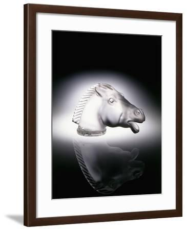 Epsom' No. 1153, a Clear and Frosted Glass Car Mascot in the Form of a Horse's Head--Framed Giclee Print