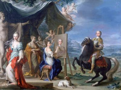 Equestrian Portrait of a Nobleman.. as Protector of the Arts, C1699-1748-Ignaz Stern-Giclee Print