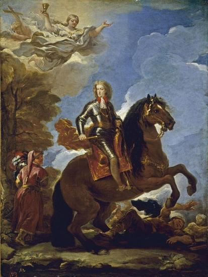 Equestrian Portrait of Charles II of Spain, before 1694-Luca Giordano-Giclee Print