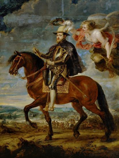 Equestrian Portrait of King Philip (Felipe) II of Spain (1527-1598)-Peter Paul Rubens-Giclee Print