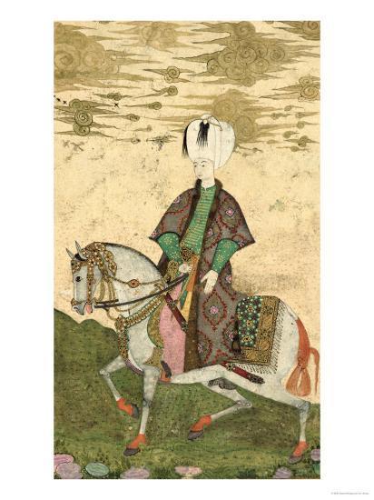 Equestrian Portrait of Sultan Osman II (1603-22) 1618- Nakshi-Giclee Print