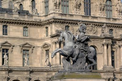 Equestrian Statue of King Louis XIV (1638-1715) in Cour Napoleon (Napoleon Courtyard) of Louvre Pal--Photographic Print