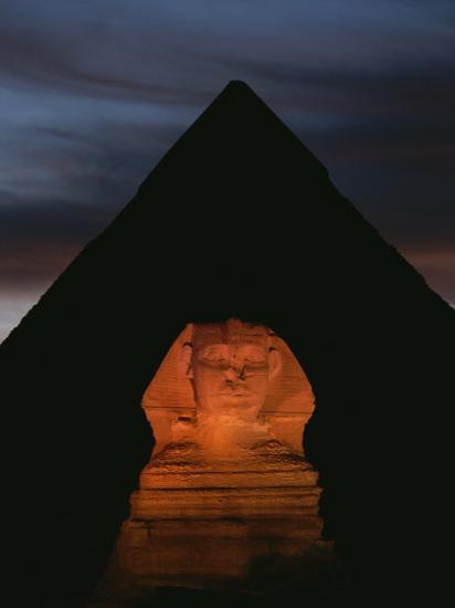 Equinox Sunset at the Sphinx, with Menkaures Pyramid in Background-Kenneth Garrett-Photographic Print