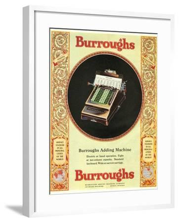 Equipment Burroughs, Adding Machines, Accountants, USA, 1920--Framed Giclee Print