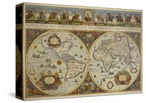 Map in Two Hemispheres with Portrait of Pope Innocent XI, 1676 by Erdkarte