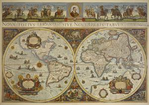 Map in Two Hemispheres with Portrait of Pope Innocent XI, 1676 by Erdkarte