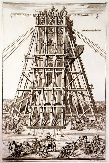 Erecting the Ancient Egyptian Obelisk in St. Peter's Square, Rome, Engraved by Alessandro Specchi-Carlo Fontana-Giclee Print
