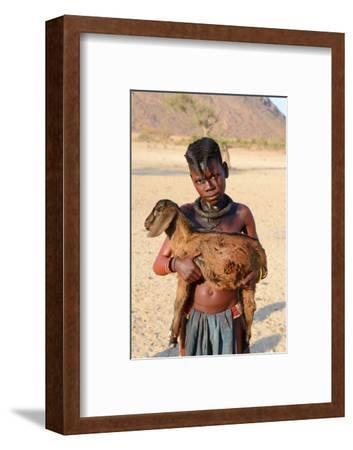 Himba Girl With Traditional Double Plait Hairstyle, Carrying A Goat