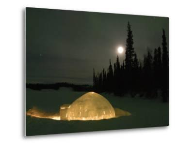 Igloo with Lights at Night by Moonlight, Northwest Territories, Canada March 2007