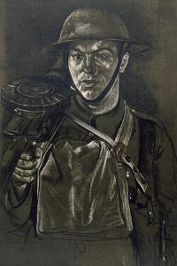 A Lewis Gunner of a Yorkshire Regiment, from British Artists at the Front, Continuation of the… by Eric Henri Kennington