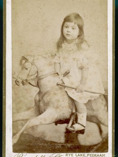 Eric James Age 3 Rides His Rocking Horse--Photographic Print