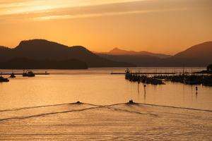 At Sunset, Two Boats Carve the Water Near Mountains, a Marina and Harbor by Eric Kruszewski