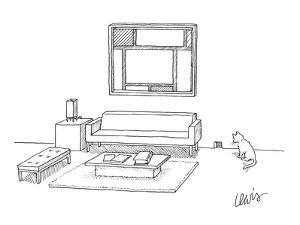 A cat stares at a square mouse hole in a room made entirely of square furn? - New Yorker Cartoon by Eric Lewis