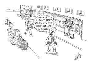 """An elderly cowboy thinks """"Damn if I didn't start walking in this direction? - New Yorker Cartoon by Eric Lewis"""