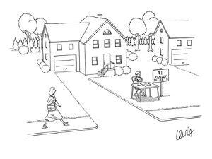 Boy sitting at front yard stand with sign that reads, 'Family Secrets $1.00.' - New Yorker Cartoon by Eric Lewis