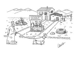 Children at a lemonade stand with sign that reads, 'Lemonade without Borde? - New Yorker Cartoon by Eric Lewis
