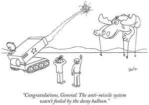 """""""Congratulations, General. The anti-missile system wasn't fooled by the de…"""" - New Yorker Cartoon by Eric Lewis"""