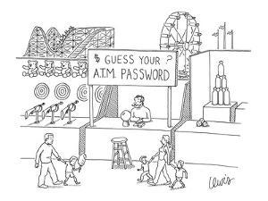 """""""Guess your ATM Password"""" booth at carnival. - New Yorker Cartoon by Eric Lewis"""