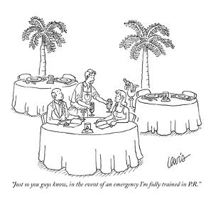 """""""Just so you guys know, in the event of an emergency I'm fully trained in ?"""" - New Yorker Cartoon by Eric Lewis"""