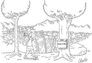 Man backpacking through forest finds a suggestion box attached to a tree. - New Yorker Cartoon by Eric Lewis