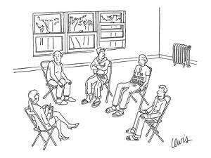 Man in group therapy session wears a t-shirt that reads 'I'm With Crazy' w? - New Yorker Cartoon by Eric Lewis