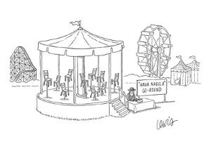 Ride at amusement park-- merry-go-round with chairs instead of horses and ? - New Yorker Cartoon by Eric Lewis