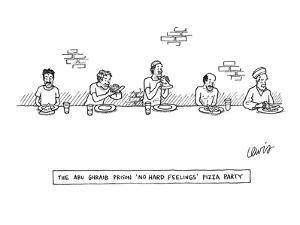 """""""The Abu-Ghraib Prison 'No Hard Feelings' Pizza Party"""" - New Yorker Cartoon by Eric Lewis"""
