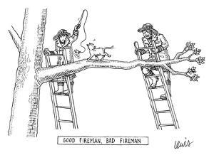 Two firemen stand on ladders at either end of a tree branch, where a cat i? - New Yorker Cartoon by Eric Lewis
