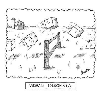"""Vegan Insomnia"" - New Yorker Cartoon"