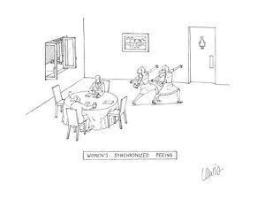 While at a restaurant, two women go to the bathroom in a harmonized and id? - Cartoon by Eric Lewis
