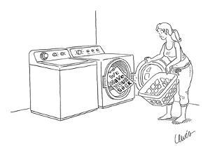 Woman doing laundry finds a ransom note in the dryer reading, 'We Have You? - New Yorker Cartoon by Eric Lewis
