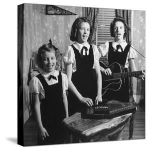 Country Western Singing Carter Sisters Anita, June and Helen, Singing, Playing Autoharp and Guitar by Eric Schaal