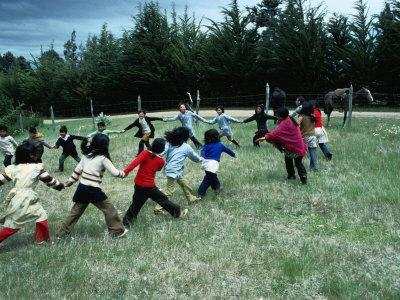 Indigenous Mapuche Children Playing on Outskirts of Town, Chol Chol, La Araucania, Chile