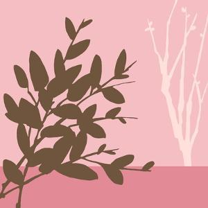 Metro Leaves in Pink I by Erica J. Vess