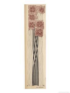 Decorative Art Nouveau Motif of Long-Stemmed Flowers in Brown and Black by Erich Kleinhempel