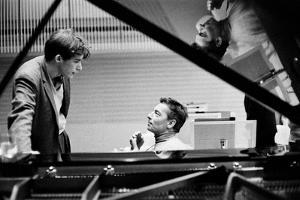 Herbert von Karajan  recording Beethoven's Piano Concert with Berlin Philharmonic and Glenn Gould by Erich Lessing