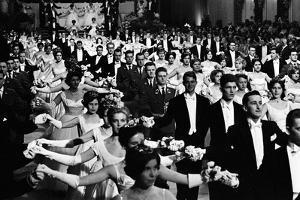Vienna operaball ,carnival season. Couples, dance a waltz. by Erich Lessing