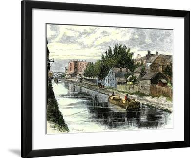 Erie Canal Barge Towed Through Schenectady, New York, 1800s--Framed Giclee Print
