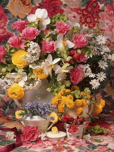 Spring Flower Arrangement, Ranunculus Asiaticus, Rosa Narcissus and Myosotis by Erika Craddock