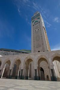 A Low Angle View of the World's Tallest Minaret at Hassan Ii Mosque by Erika Skogg