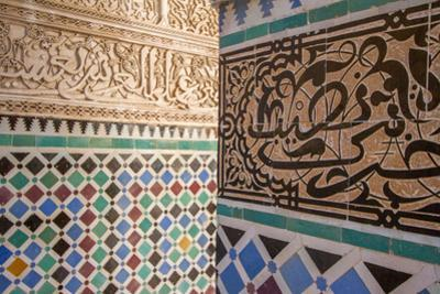 Colorful Mosaic Tile Work on the Columns in the Medersa Attarine