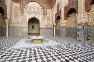 Ornate Islamic Tile Work and Relief Sculpture at Medersa Attarine by Erika Skogg