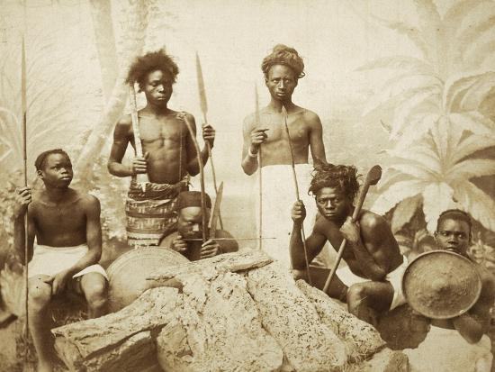 Eritrea, Eritrean Warriors with Spears, Bows and Shields, Circa 1880--Giclee Print