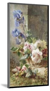 A Still Life with Irises and Roses in a Basket by Ermocrate Bucchi