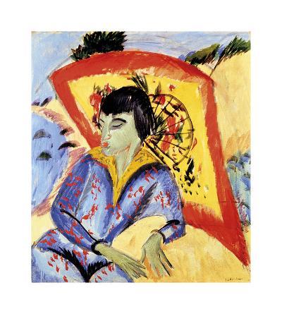 Erna with Japanese Umbrella-Ernst Ludwig Kirchner-Premium Giclee Print
