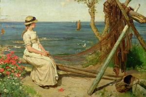Mending the Nets, Newlyn, Cornwall, 1882 by Ernest Albert Waterlow
